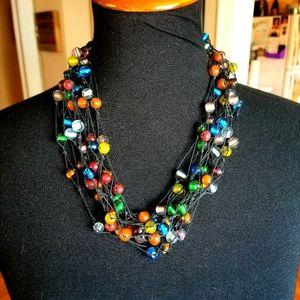 VTG 70s Handmade Glass Bead Boho Necklace